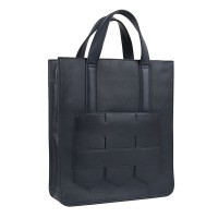Modern fringe tote bag _Navy (cow leather)