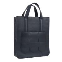 Modern fringe tote bag _Navy (cow leather)