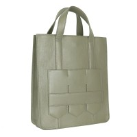 Modern fringe tote bag _Khaki (cow leather)