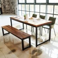 딥 멀바우원목 6인 식탁세트(의자/벤치)_(201242956)