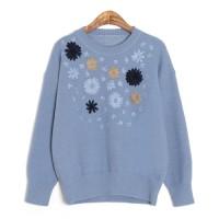 [핸드메이드자수]블로썸 자수 스웨터