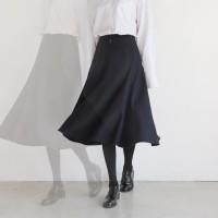 Flare long woolen skirt