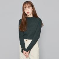 half-neck sleeve slit knit (5 colors)_(475124)