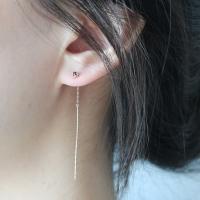 [silver925]black roughdia earring