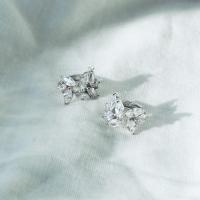 [silver925] crystal leaf earring