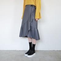 Stripe wrap long skirt