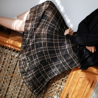 Check long banding skirt