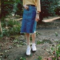 Coloring denim skirt