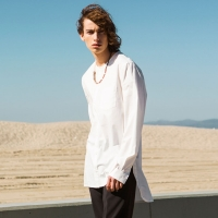LEVI COLLARLESS LONG SHIRT atb116m(White)