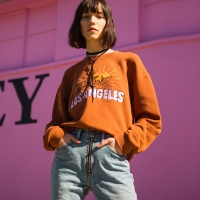 UNISEX LOS ANGELES EMBROIDERY SWEATSHIRT atb123u(Brown)