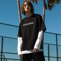 KANE OVERSIZED PIQUE T-SHIRT atb125m(Black)