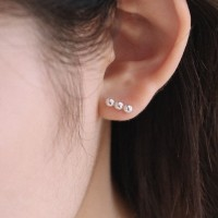 silver circle bar stud earring