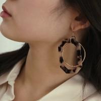 leopard circle drop earring