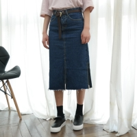 Three slit denim skirt