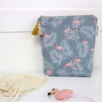 [haku.haru] flamingo travel pouch