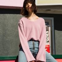 AMIE CASHMERE V-NECK SWEATER atb120w(Pink)