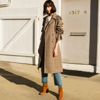 LAWRENCE STRING CHECK TRENCH COAT awa087w(CHECK)