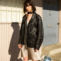 LUCIA OVERSIZED LEATHER JACKET awa084w(Black)