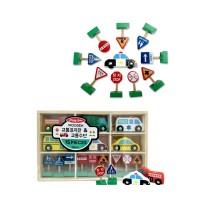 [DASOL]원목-교통표지판과 교통수단 15PCS