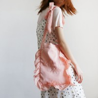 ribbon satin shoulder bag_pink
