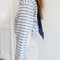 PATCH STRIPED TEE-SKYBLUE
