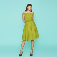 Off Shoulder Color Dress in Yellow Green