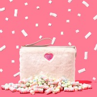 HEART LOGO COTTON CANDY FUR CLUTCH - VANILLA