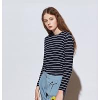 [유라고]스트라이프 슬럽 라운드티셔츠