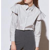 [유라고]러플 스트라이프 셔츠