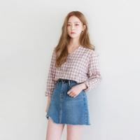 Damage cutting denim skirt