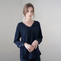 V-Neck Blouse - Navy