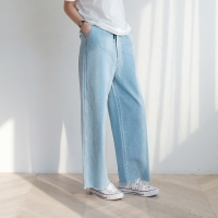 Banding denim wide pants