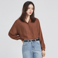 wrinkle V-neck collar blouse (4 colors)_(527762)