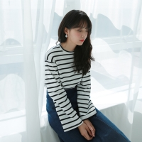 Daily wide sleeve stripe tee