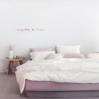 플레인 에스타도 천연염색 침구(60수)-딥핑크&크림 (싱글/슈퍼싱글)