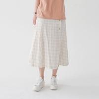 Wrap button check skirt