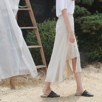 Unbal linen long skirt