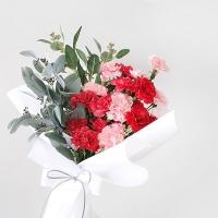 카네이션 & 스키미아 화이트 꽃다발
