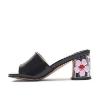 kami et muse Cute flower heel enamel slippers_KM17s133