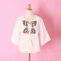 Wine Embroidery Blouse