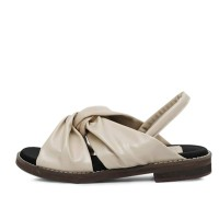 kami et muse Suede combi twist top flat sandals_KM17s143