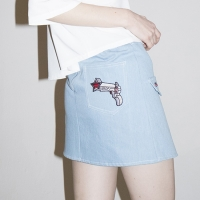 Ring Belt Unbalance Denim Skirt (BLUE)