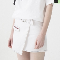 Ring Belt Unbalance Denim Skirt (WHITE)