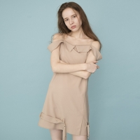 Off The Shoulder Belt Dress (BEIGE)