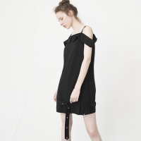 Off The Shoulder Belt Dress (BLACK)