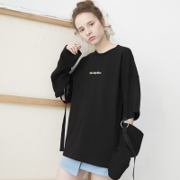 Ring Detail Long Sleeve T-shirts (BLACK)