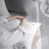 레드꽃자수 베개커버