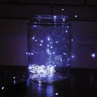 LED 50P 와이어 건전지(방수케이스) [백색]
