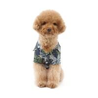 강아지 하와이안 셔츠 - 네이비