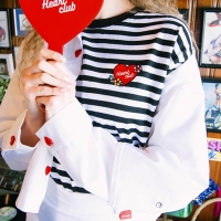 Heart Stripe Flower Top (4colors)